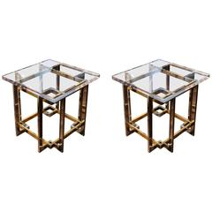Pierre Cardin Brass and Chrome Petite End Tables with Lucite Top