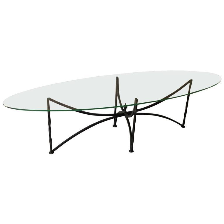 Oval Glass Top Coffee Table With Metal Base: Oval Glass Top Coffee Table With Wrought Iron Base At 1stdibs