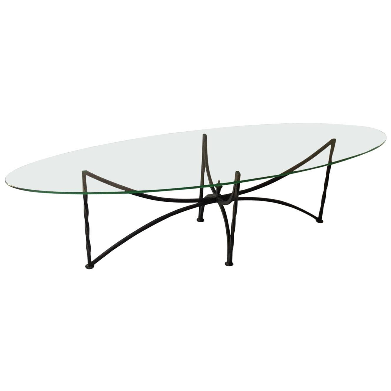 Oval glass top coffee table with wrought iron base at 1stdibs for Oval wrought iron coffee table with glass top