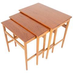 Set of Hans Wegner Teak and Oak Nesting Tables