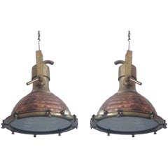 2 Large Swedish Midcentury Marine Industrial Brass, Copper Chandelier, Pendants