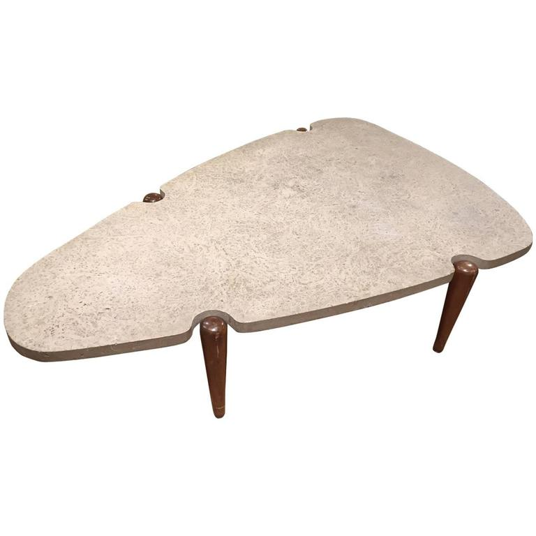Edward Wormley for Dunbar Travertine Top Coffee Table