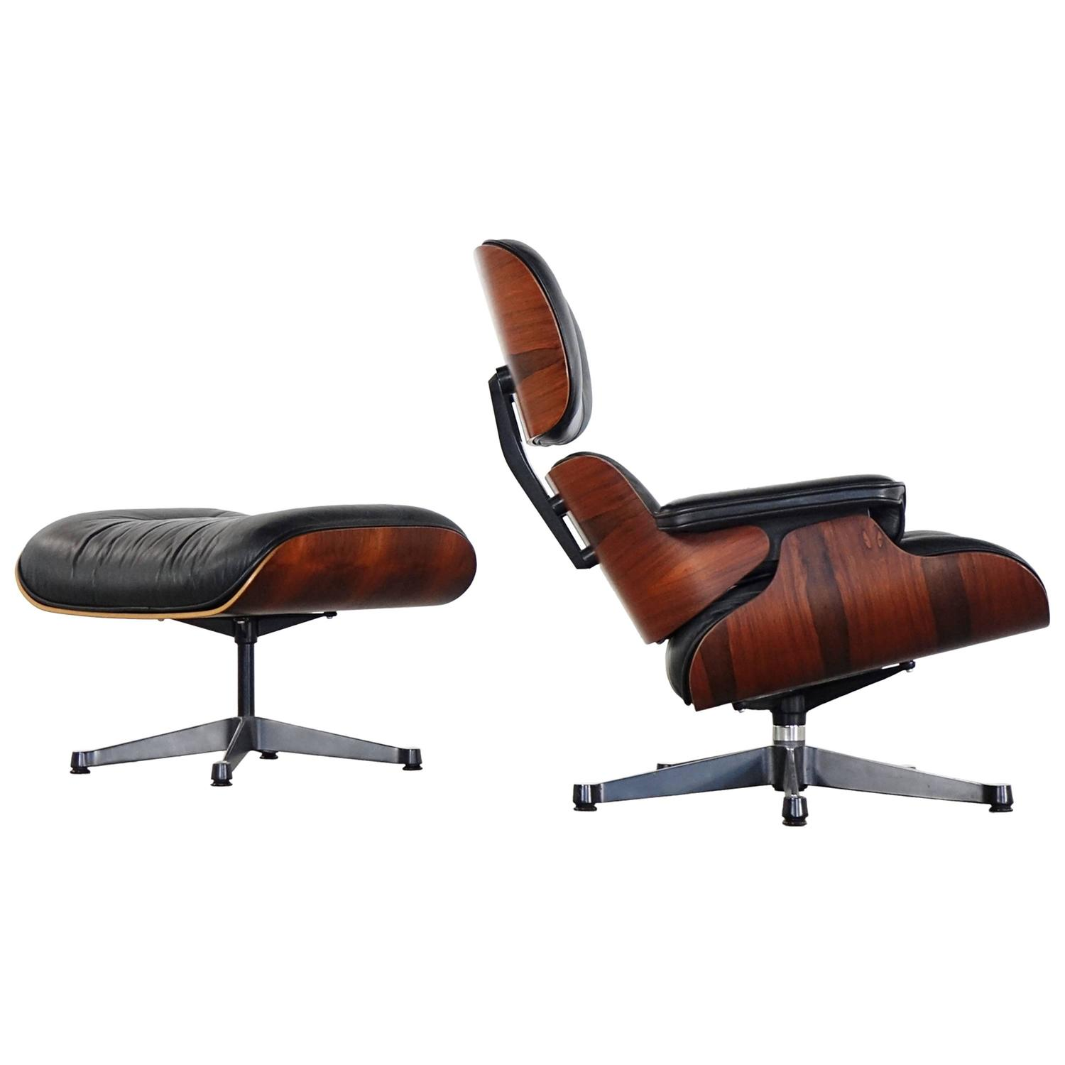 Vitra charles eames lounge chair and ottoman in rio for Eames chair vitra replica