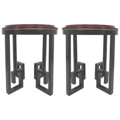 Pair of Lacquered Greek Key End Tables With Leather Tops Circa 1940s