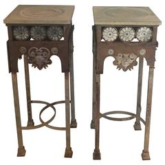 Pair of Tall Gothic Revival Stands in Iron and Zinc