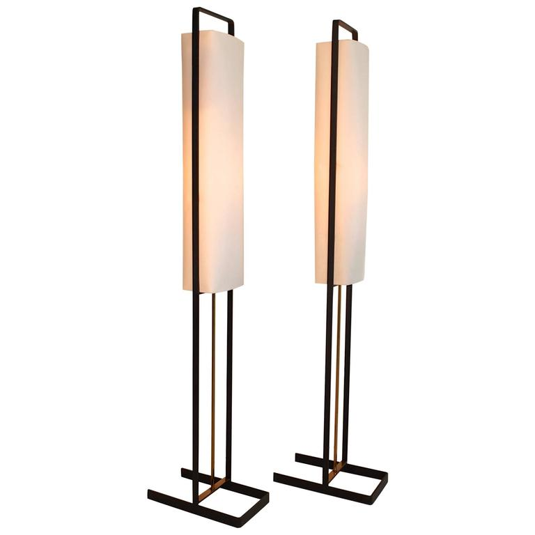 Pair of Floor Lamps Attributed to Jean Boris Lacroix 1
