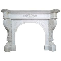 Antique Louis XVI Style French Marble Fireplace Mantel
