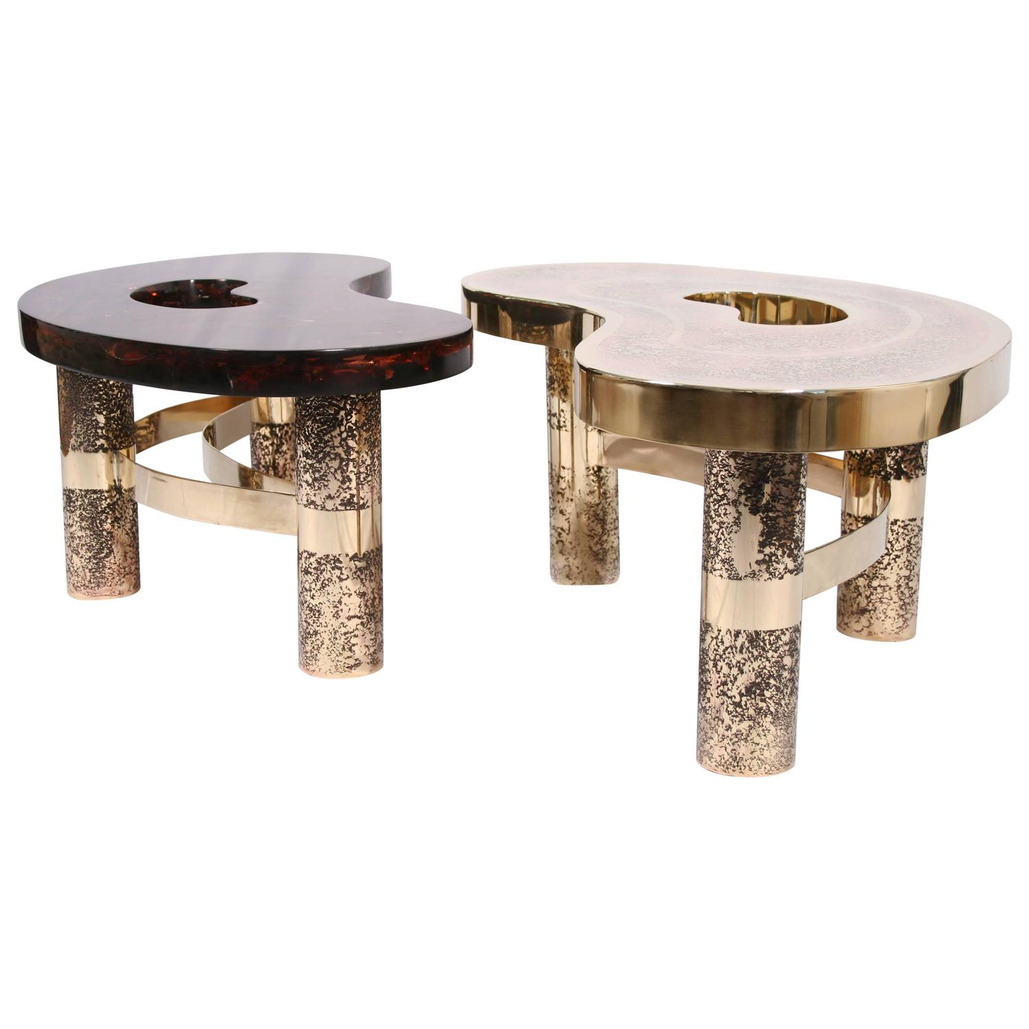 Coffee Table Beann Etched Brass And Fractal Resin Designed By Arriau At 1stdibs