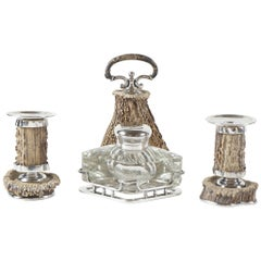 19th Century English Plate and Horn Candlesticks and Large Cut-Glass Inkwell