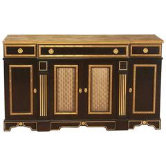 Empire Style Ebonized and Gilt Bronze Side Cabinet Attributed to Maison Jansen