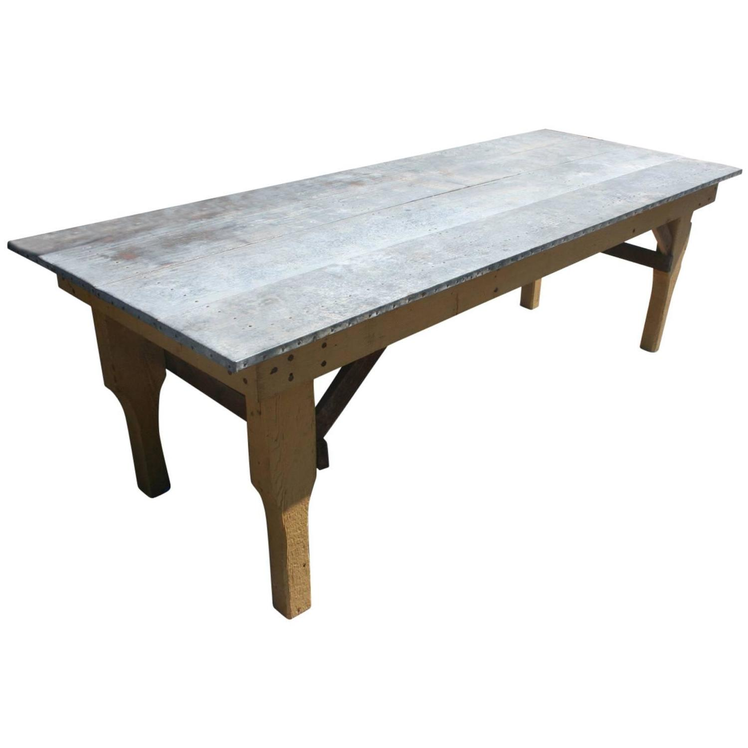 Best zinc tin top dining or garden table for sale at 1stdibs for Table exterieur zinc