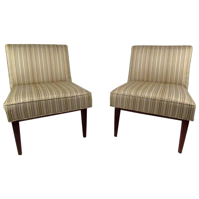 Pair of Jens Risom Style Slipper Chairs
