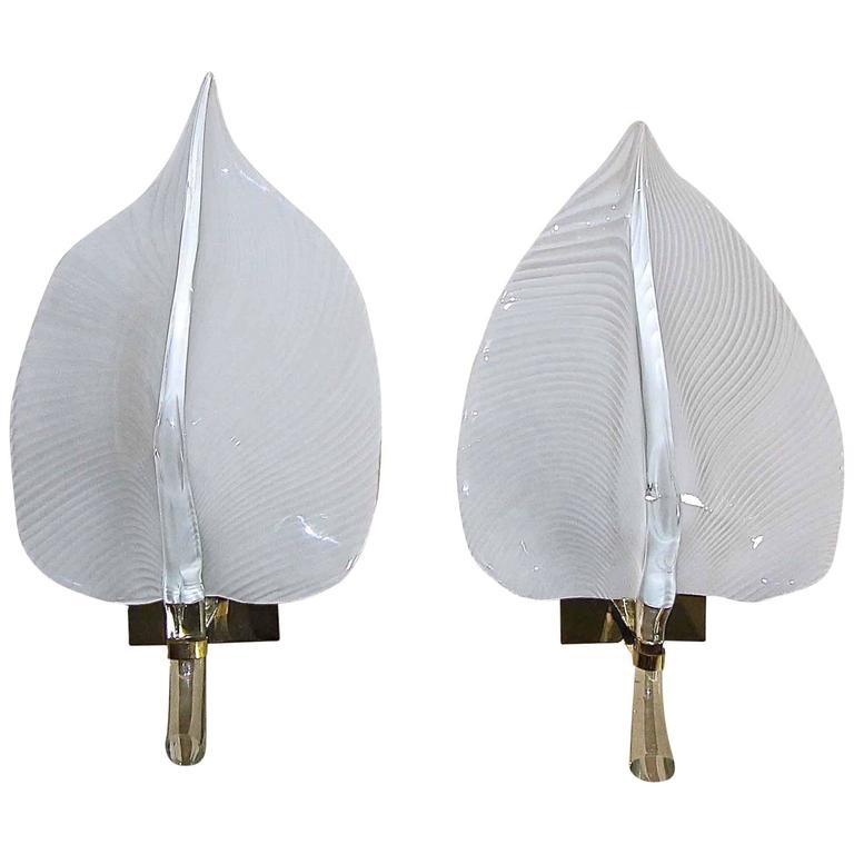 Pair of Large Murano Italian Franco Luce Glass Leaf Wall Sconces