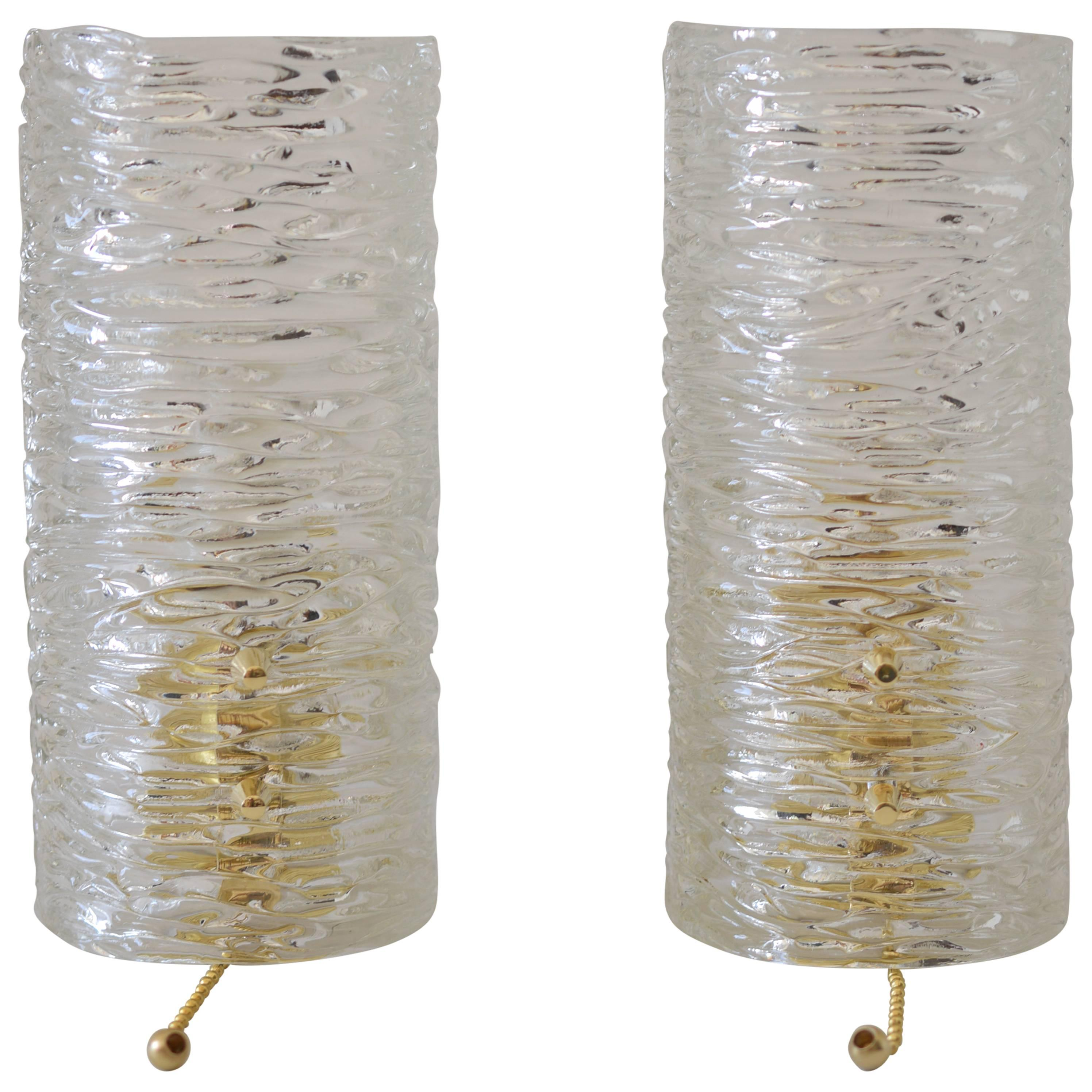 Two Kalmar Sconces Glass and Brass