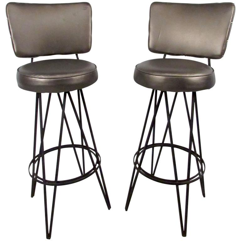 Pair of Mid-Century Frederick Weinberg Style Stools