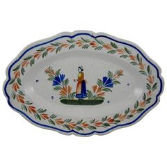 French Faïence Quimper Couronnes Border Large Hanging Deep Dish Breton Platter