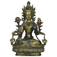 Sino Tibetan Gilt Bronze Buddha or Tara, 19th Century