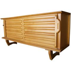 Unique Solid Oak French Sideboard Designed by Guillerme et Chambron C. 1960s
