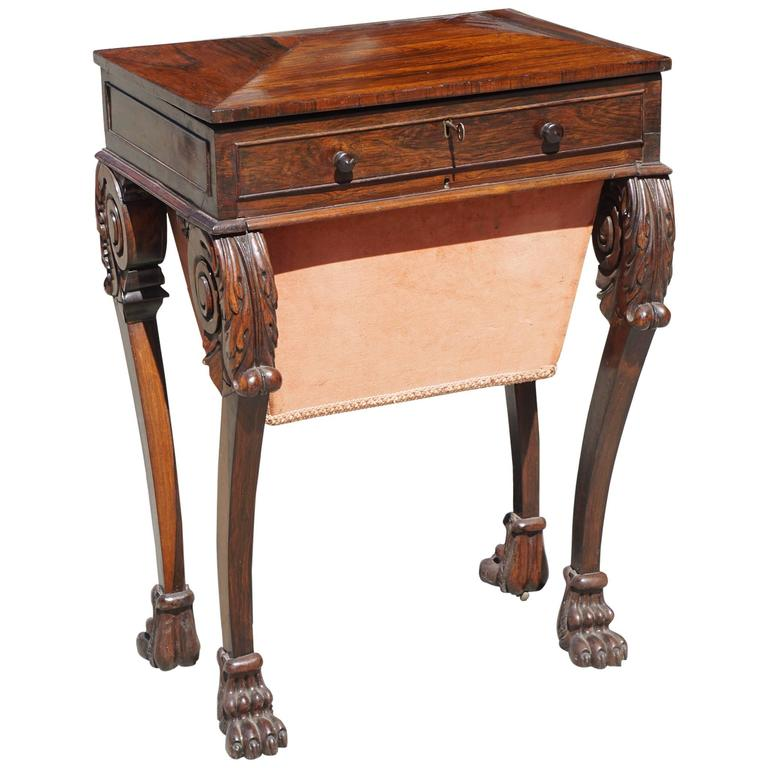 Fine Period Regency Rosewood Work Table