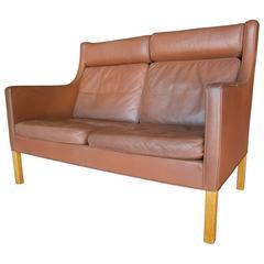 Danish Leather Upholstered Loveseat Designed by Borge Morgensen  C. 1960s
