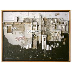 """""""City Construction #9""""A 1979 Dimensional Urban Landscape on Panel by G.M. Riess"""
