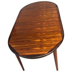 Danish Round Rosewood Dining Table, Two Skirted Leaves, Moller