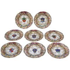 Eight Naples Armorial Plates