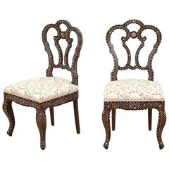 Pair of 19th Century Anglo-Indian Bone-Inlaid Side Chairs