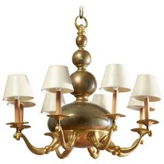 Austrian Jugendstil Bronze and Parcel-Gilt Seven-Arm Chandelier