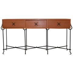 1980s Oak and Wrought Iron French Console