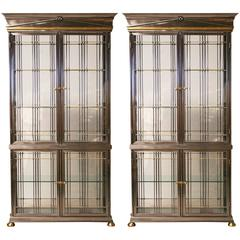 Pair of 1980s Italian Steel, Brass and Glass Vitrine Cabinets