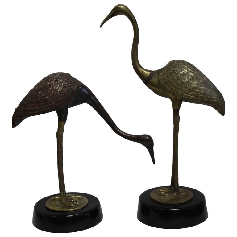 Pair of Brass Cranes