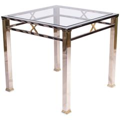 Chrome and Glass Side Table by Belgochrome