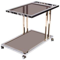 23-Carat Gold-Plated and Chrome Bar Cart by Belgo Chrome, Belgium