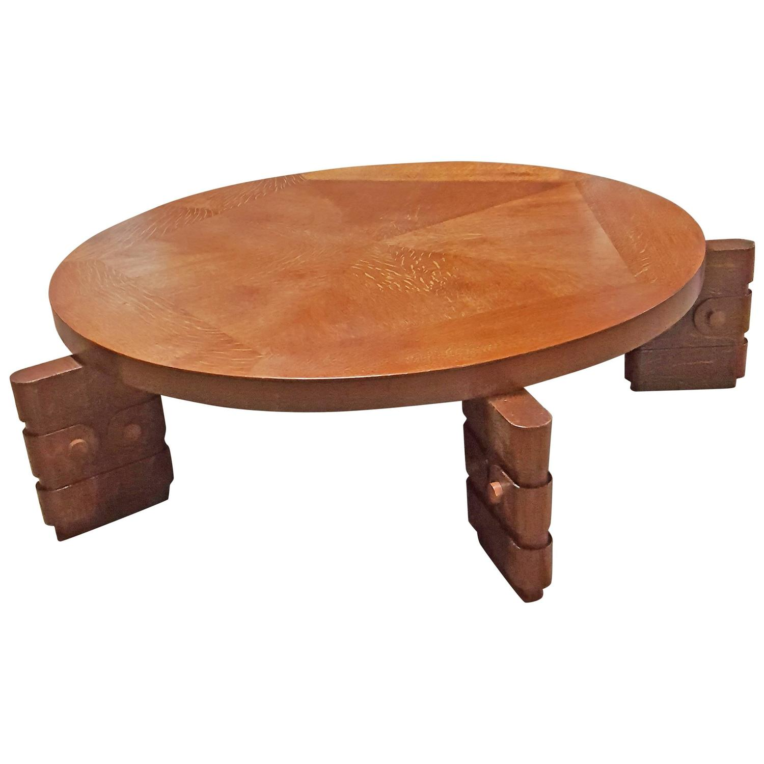 Rare And Large Oak Coffee Table From Charles Dudouyt At 1stdibs