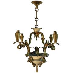 Jules Leleu Attributed Lacquered Metal and Gilt Bronze Chandelier