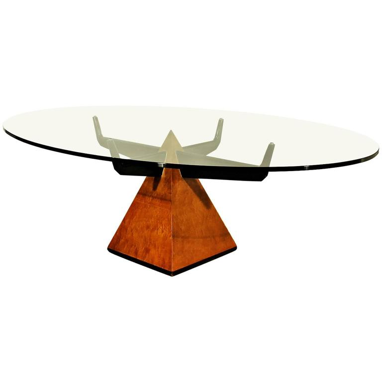S Pyramidal Coffee Table Maple Lacquered Wood Thick Glass - Maple and glass coffee table