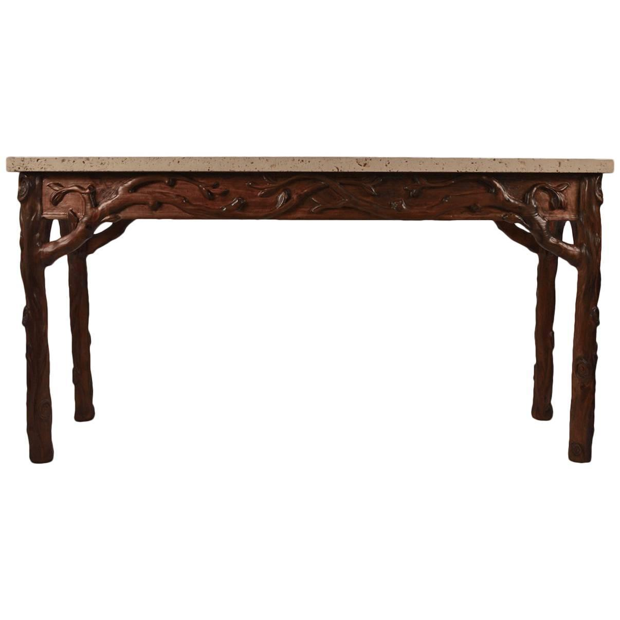 Stone Console Table: Carved Wood With Fossilized Cast Stone Top Console Table