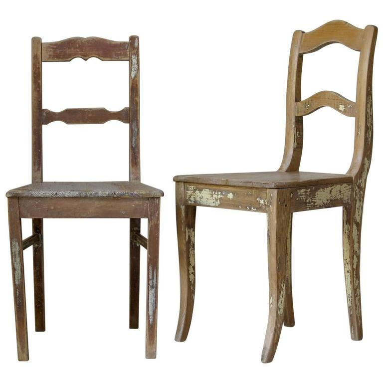Faux-Pair of Rustic Pine Chairs, France, 19th Century For Sale