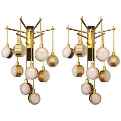 Italian Modern Mid-Century Long Pair of Brass and Glass Sconces