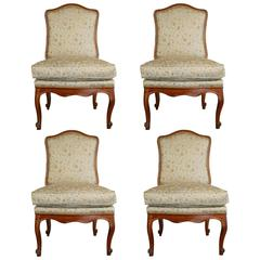 French Four Regence Period Slipper Chairs in Walnut, circa 1730