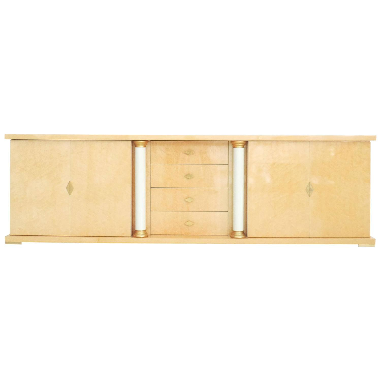 Turri italian bird s eye maple brass gold sideboard for Sideboard gold