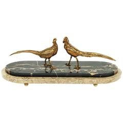 1930s Art Deco Marble and Brass Pheasant Sculpture