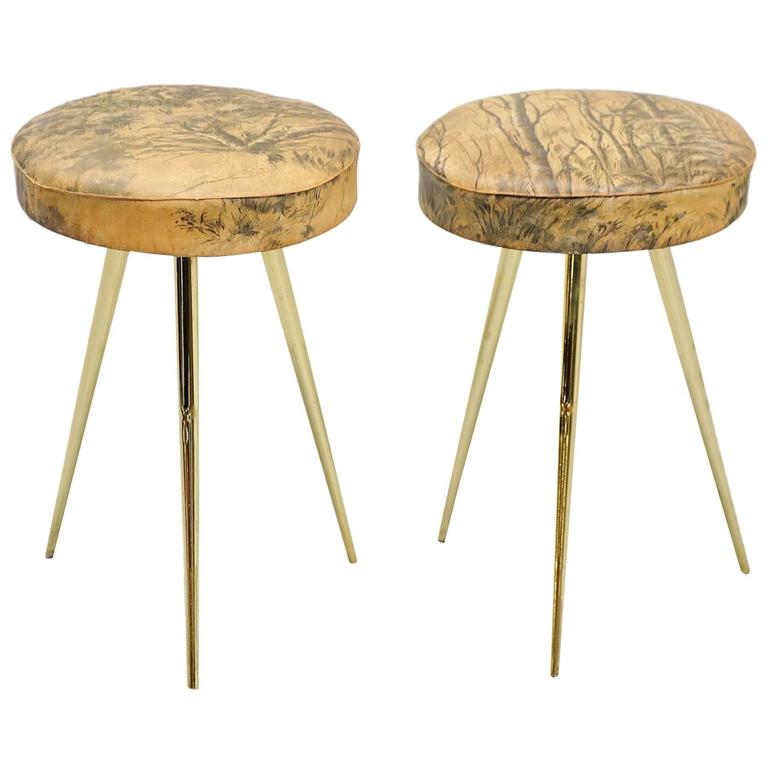Italian Pair Of Stools With Forest Print Seats 1950 At