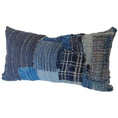 Custom Japanese Indigo Boro Pillow Cut from a Futon Cover with Sashiko Stitching