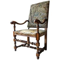 Good Quality Louis XIV Style Gros-Point Upholstered Open Armchair