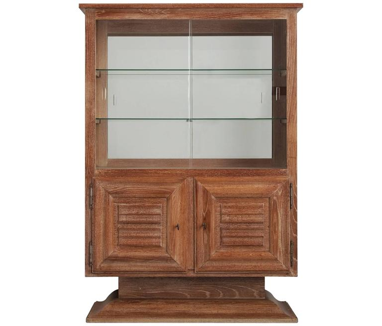 Art Deco Vitrine Cabinet in Oak