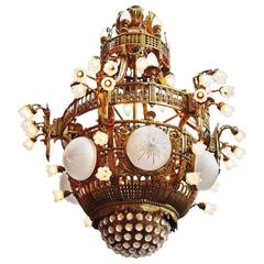 French Gild Bronze, Cut Glass and Frosted Seventy-Light Chandelier