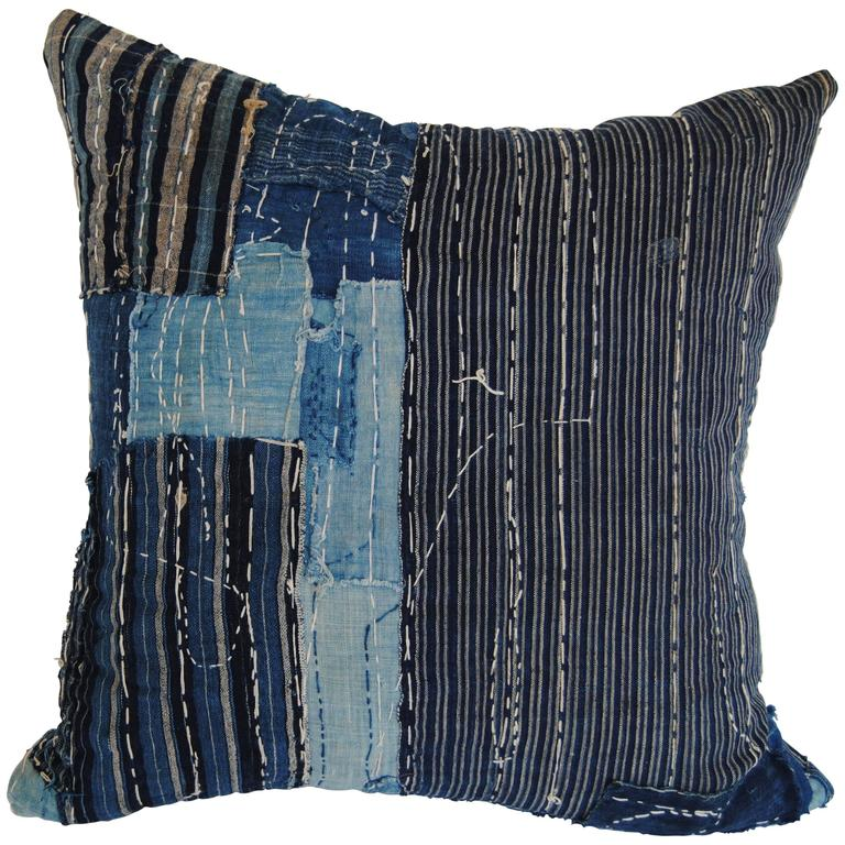 Custom Antique Japanese Indigo Boro Pillow with Sashiko Stitching