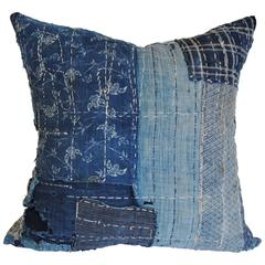 Antique Japanese Indigo Boro Custom Pillow with Sashiko Stitching